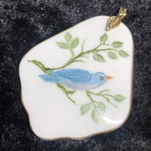 Vintage large hand painted bird pendant ceramic
